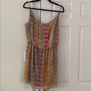 BCBGeneration Tan/Pink/Orange Geometric Dress - M